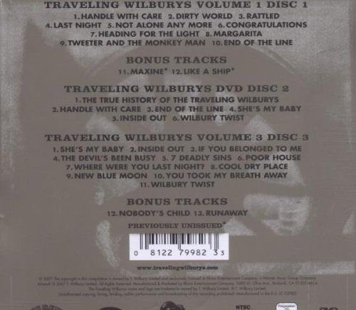 """Traveling Wilburys (2CD/1DVD, Deluxe Edition)  Traveling Wilburys (2CD/1DVD, Deluxe Edition) Featuring classics like """"Handle With Care,"""" """"End Of The Line,""""  and """"Heading For The Light,"""" super-group Traveling Wilbury's Collection  highlights all of the band's music and previously unreleased bonus tracks  through this re-mastered double album.  The DVD features behind the scenes  footage of the band writing and recording, along with their 5 video clips.  Limited edition Deluxe package .."""