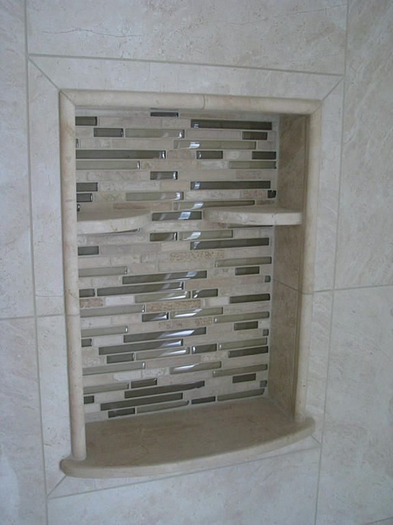 Framed Niche With Accent Edge And A Different Type Of Bottom I Ve Concluded I Don T Care For The Small 1 4 Round Shelve Small Shelves Round Shelf Shower Niche