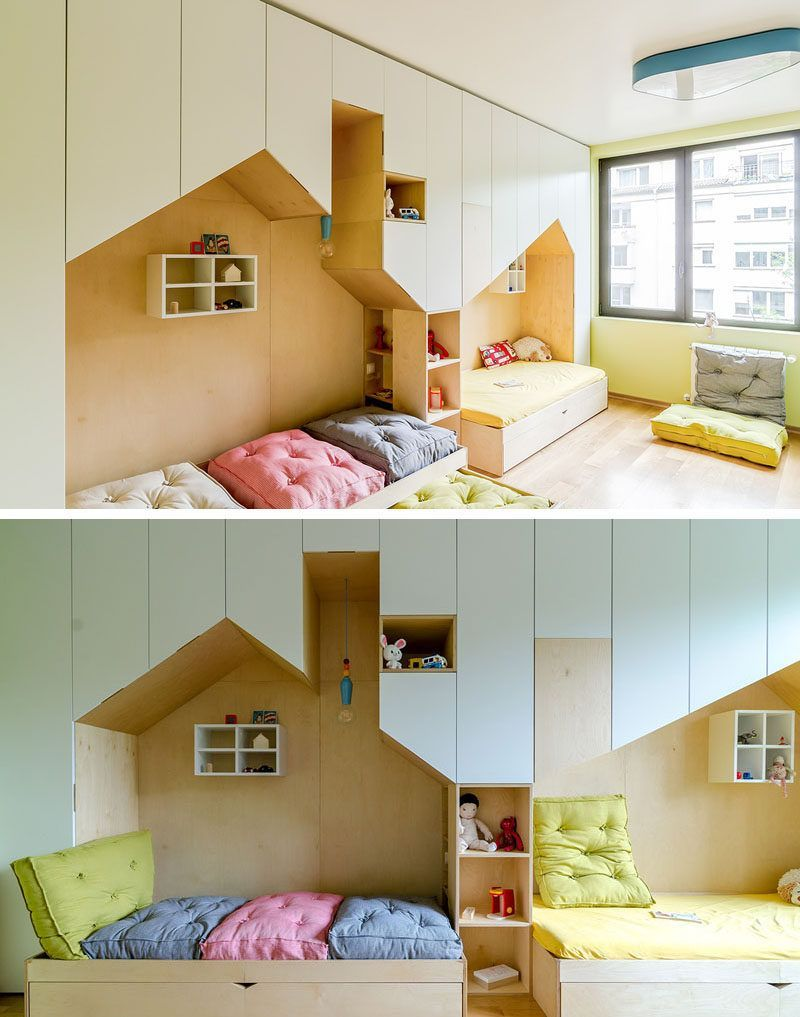 This Fun And Modern Kid S Bedroom Has A Custom Wall Unit That Features Plenty Of Storage Two Beds In Mini Houses