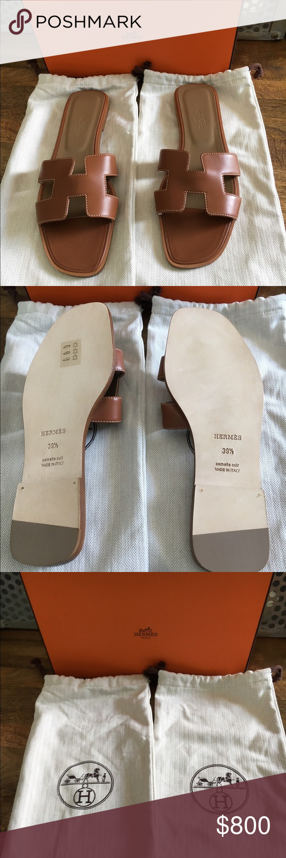 Hermes sandals dance shoes - Herm S Oran Flat Sandal Gold Tan 39 5 Brand New With Box And Dust Bags Sold