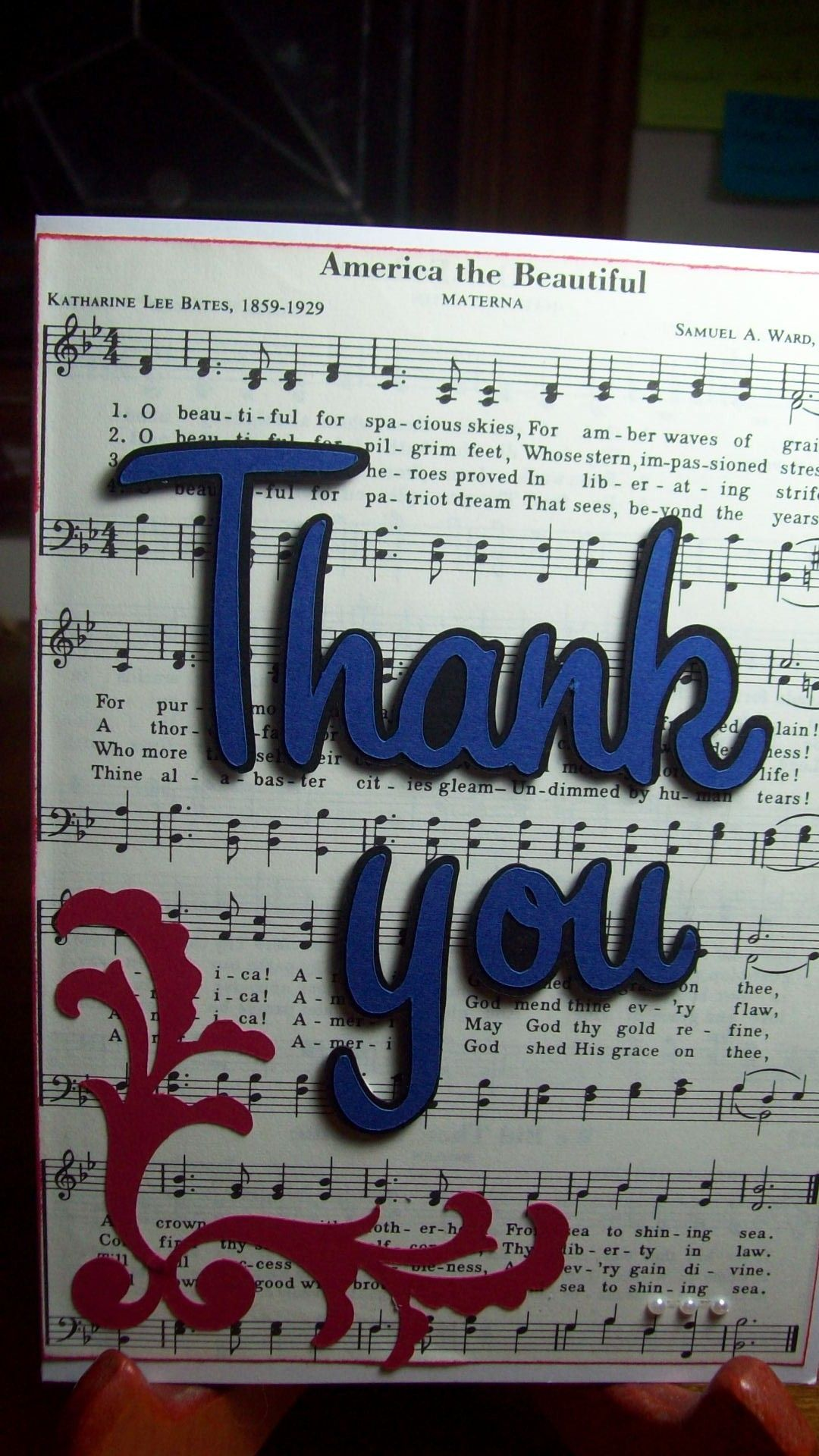Thank you card for Soldier project | Cards - Sheet music | Pinterest ...