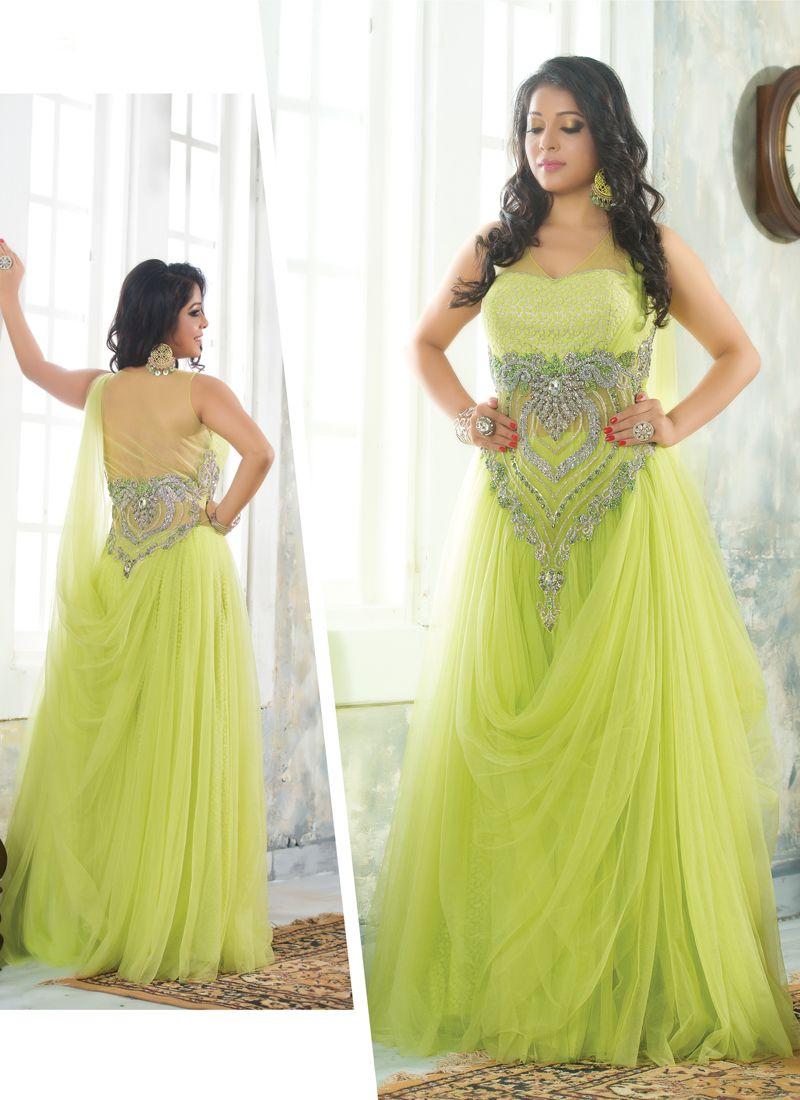 Spectacular lemon green colour and net designer salwar suit spectacular lemon green colour and net designer salwar suit ombrellifo Images