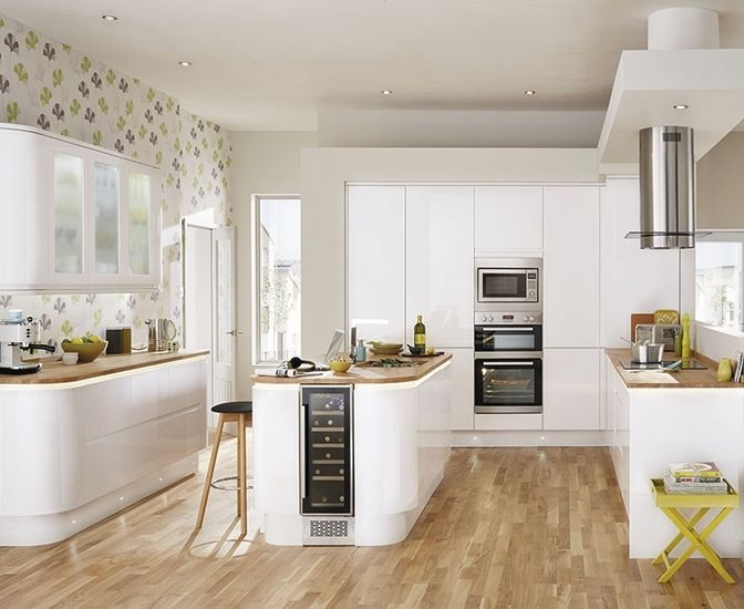 Bayswater Kitchen From Howdens Joinery A Beautiful Gloss Slab White Kitchen Cabinet Door Gives