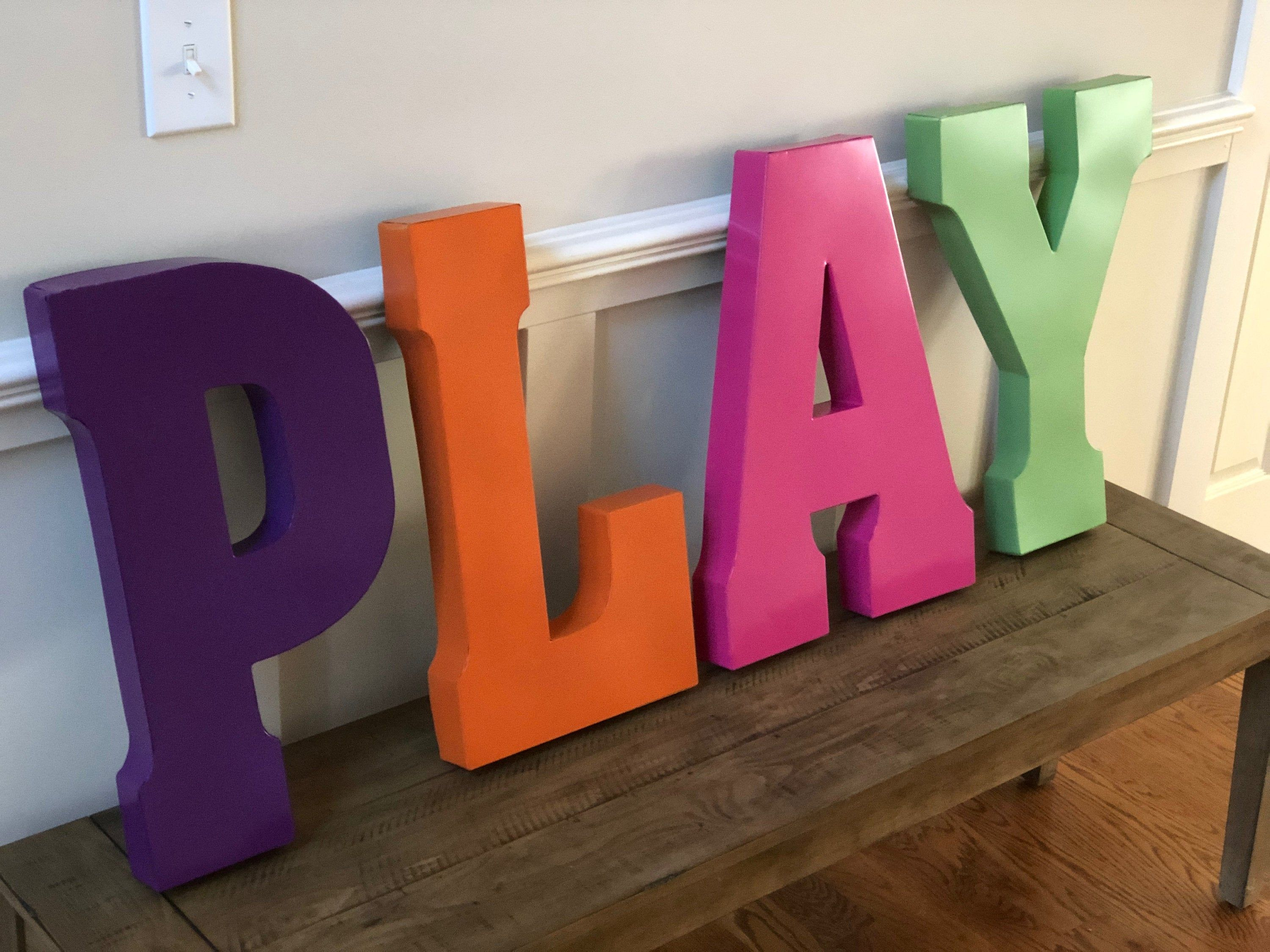 Sale Play Sign Home Sign Orange Letters Large Metal Letters Etsy In 2020 Large Metal Letters Metal Letter Decor Metal Wall Letters