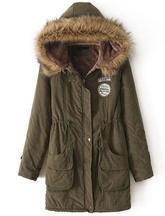 Shop Army Green Faux Fur Hooded Drawstring Pockets Coat