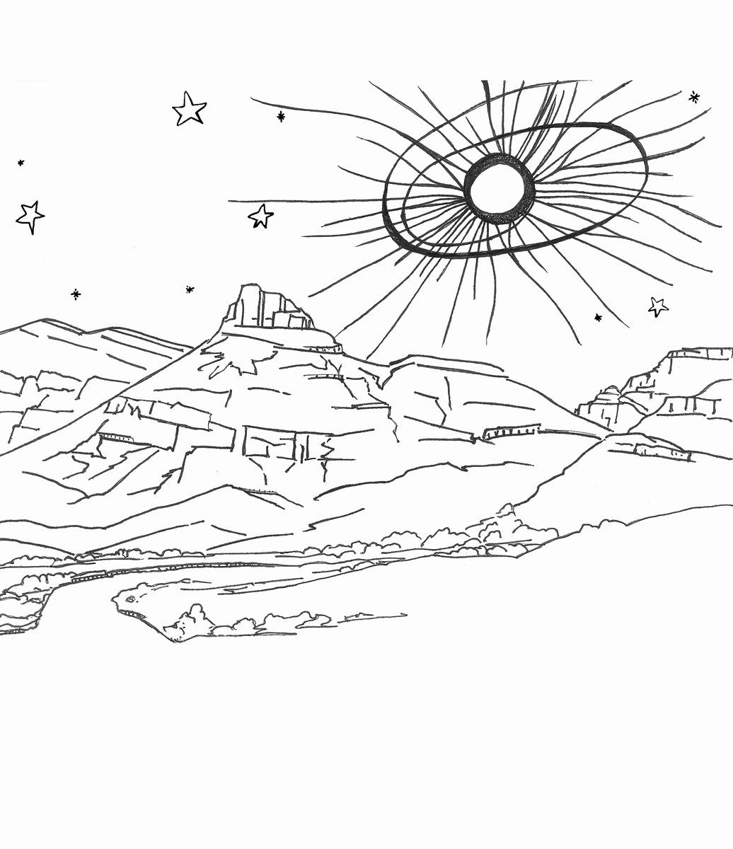 32 Solar Eclipse Coloring Page