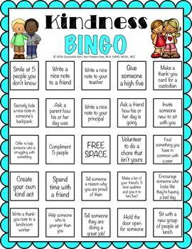 kindness bingo kindnessnation  kindness activities