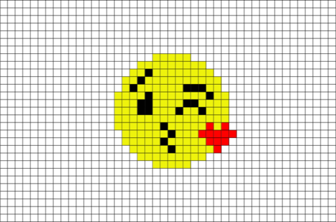 Face Throwing A Kiss Emoji Pixel Art Brik Pixel Art Designs