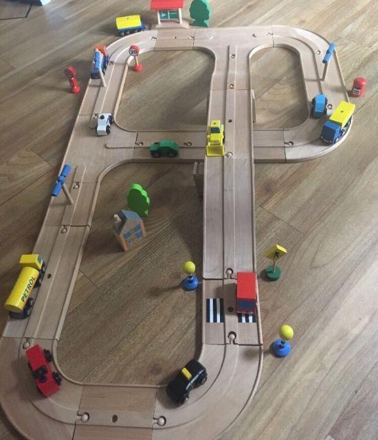Elc Wooden Road Track Play Set Vehicles Signs Bundle Brio