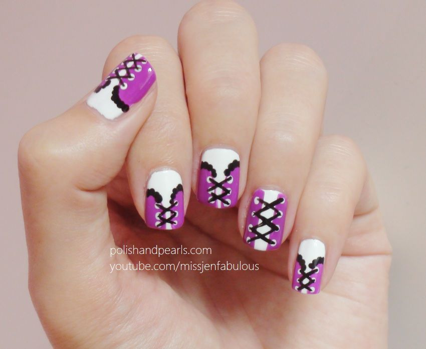 corset nails!!! perfect idea for a costume party :)