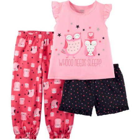 f03974525 Child of Mine by Carter's Baby Toddler Girl Short, Tee, Pant 3 Piece Pajama  Set