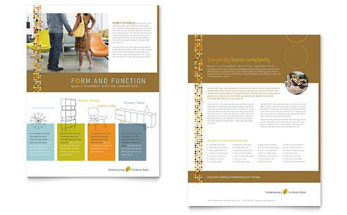 Furniture Store  Datasheet Template Design Sample  Sell Sheet