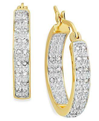Victoria Townsend Diamond Earrings, 18k Gold over Sterling Silver Two-Row Hoop Earrings (1/2 ct. t.w.) - Web Busters - Sale - Macy's