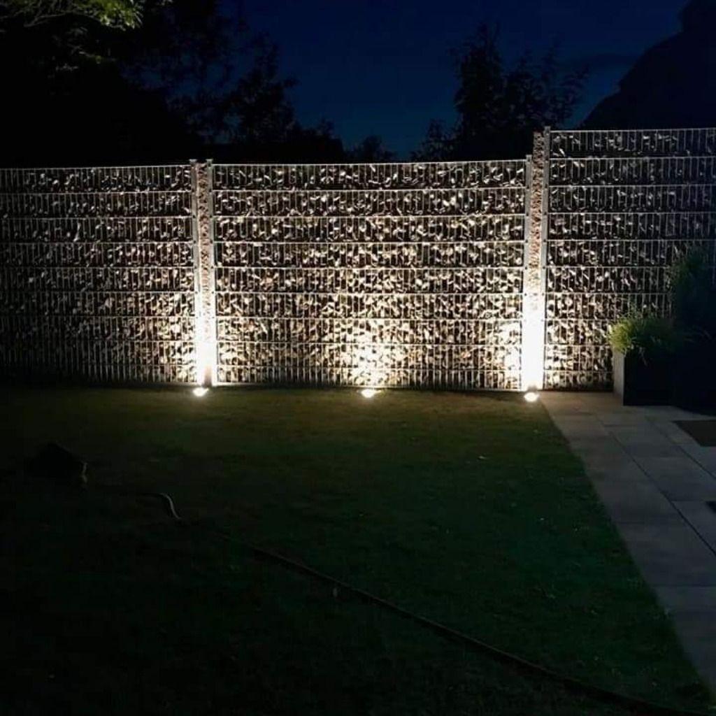 Gabionen Zaun Mit Licht Gabionen Garten Doppelstabmattenzaun