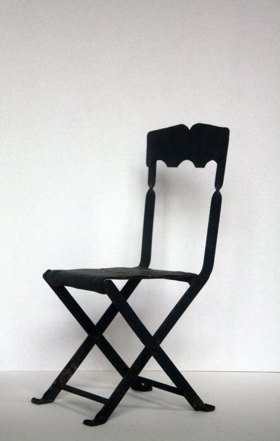 Vintage Wrought Iron Folding Chair Small Child S By Onedecember