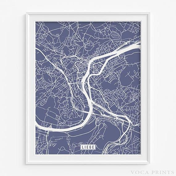 liege print belgium poster liege poster liege map belgium print belgium map lige street map home art fathers day gift