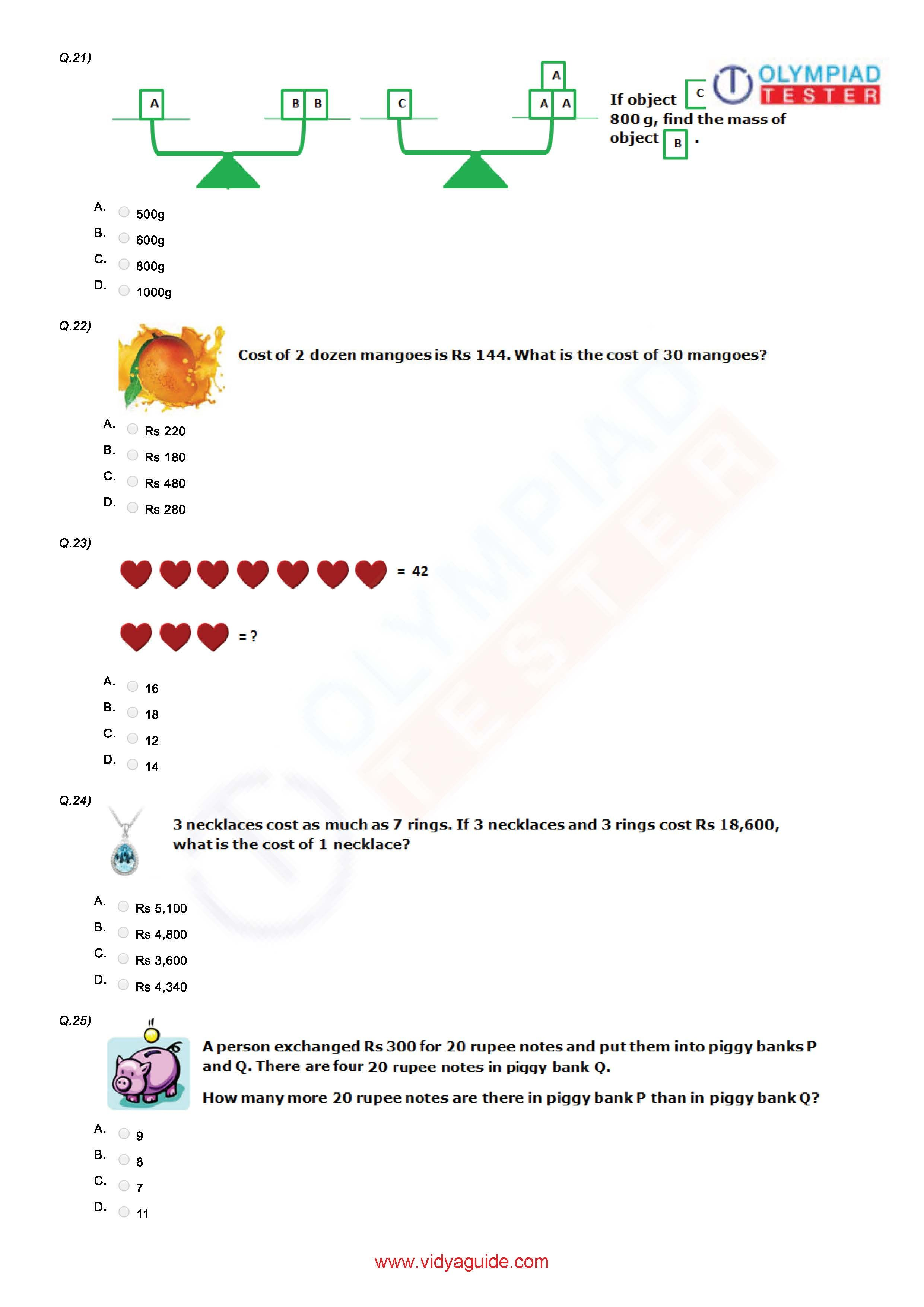 Class 4 Maths Olympiad Worksheet 03 Math Olympiad 4th Grade Math Worksheets Maths Paper