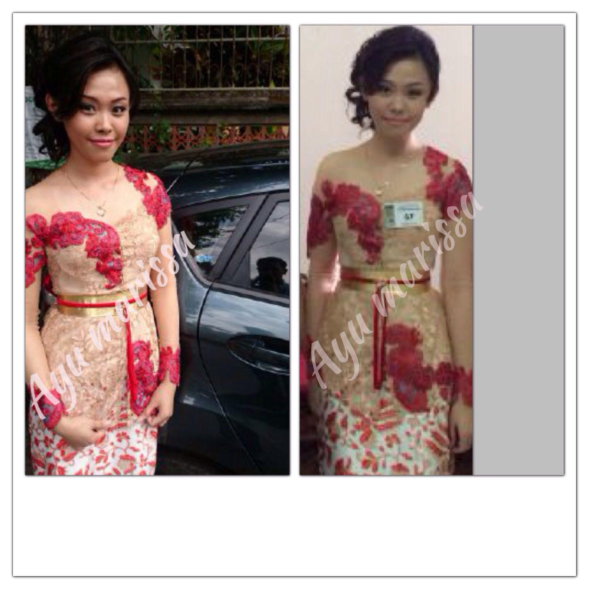 Photo of Graduation Kebaya , Cream lace with Red Swirl