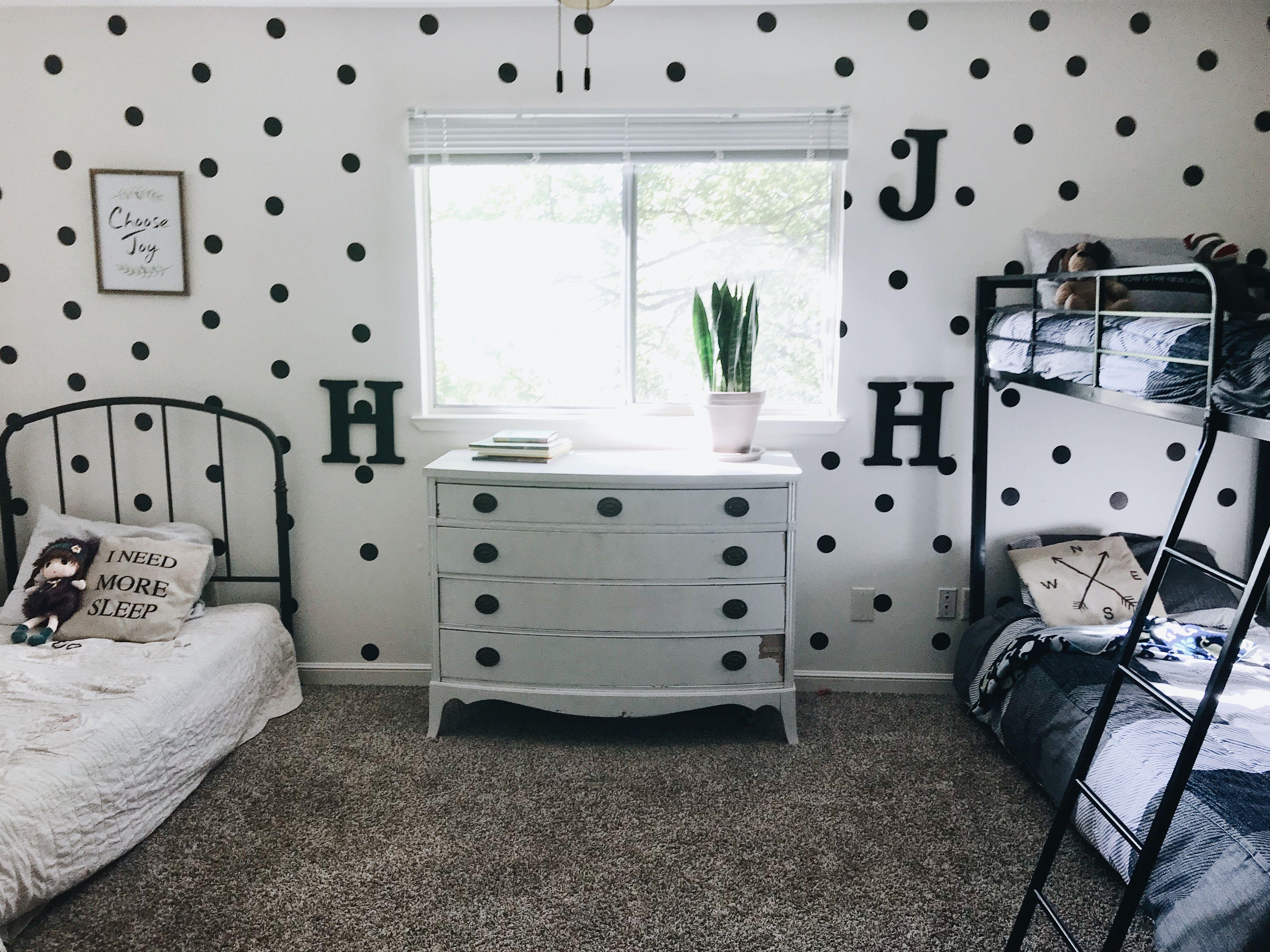Shared Kid S Room Diy Polka Dot Wall With Brewster Home Kimilove Kids Room Wallpaper Ikea Hack Kids Room Modern Kids Room