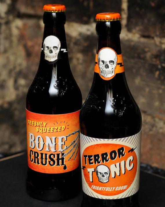 Halloween Bier.Printable Retro Halloween Beer Bottle Labels Pdf File