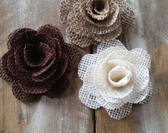 French Style Burlap Fabric Flower Collection for Scrapbook and