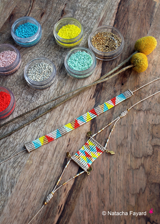 Graphic woven bracelet, micro macrame & miyuki delica. 6 colors, triangle patterns.   © Natacha Fayard   #miyuki #delica #macrame #micromacrame #triangle #diamond #pattern #woven #bracelet #wristlet #multicolored #yellow #red #turquoise #linen #mint #peach #etsy
