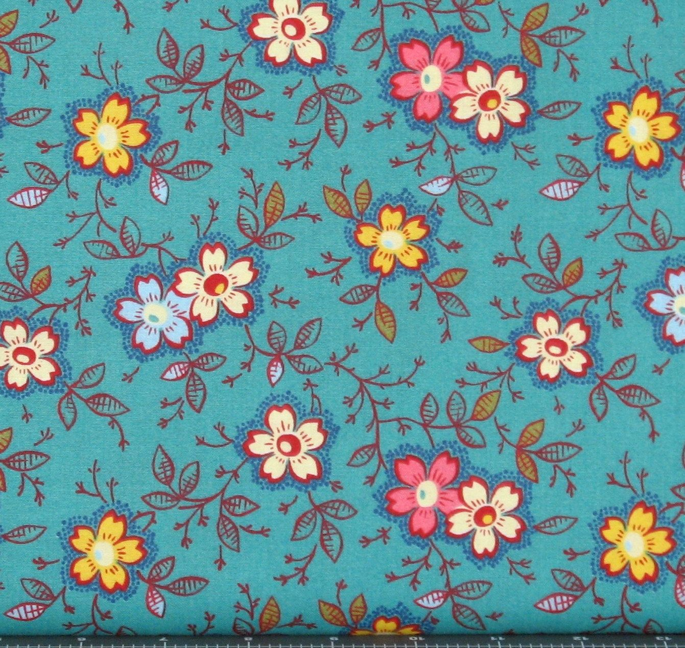 Happy in Teal Cotton Quilt Fabric for Sale, Marshall Dry Goods ... : quilting fabric sale - Adamdwight.com