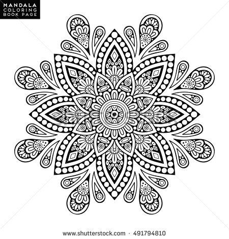 Mandala Vector Floral Flower Oriental Coloring Book Page Outline Template