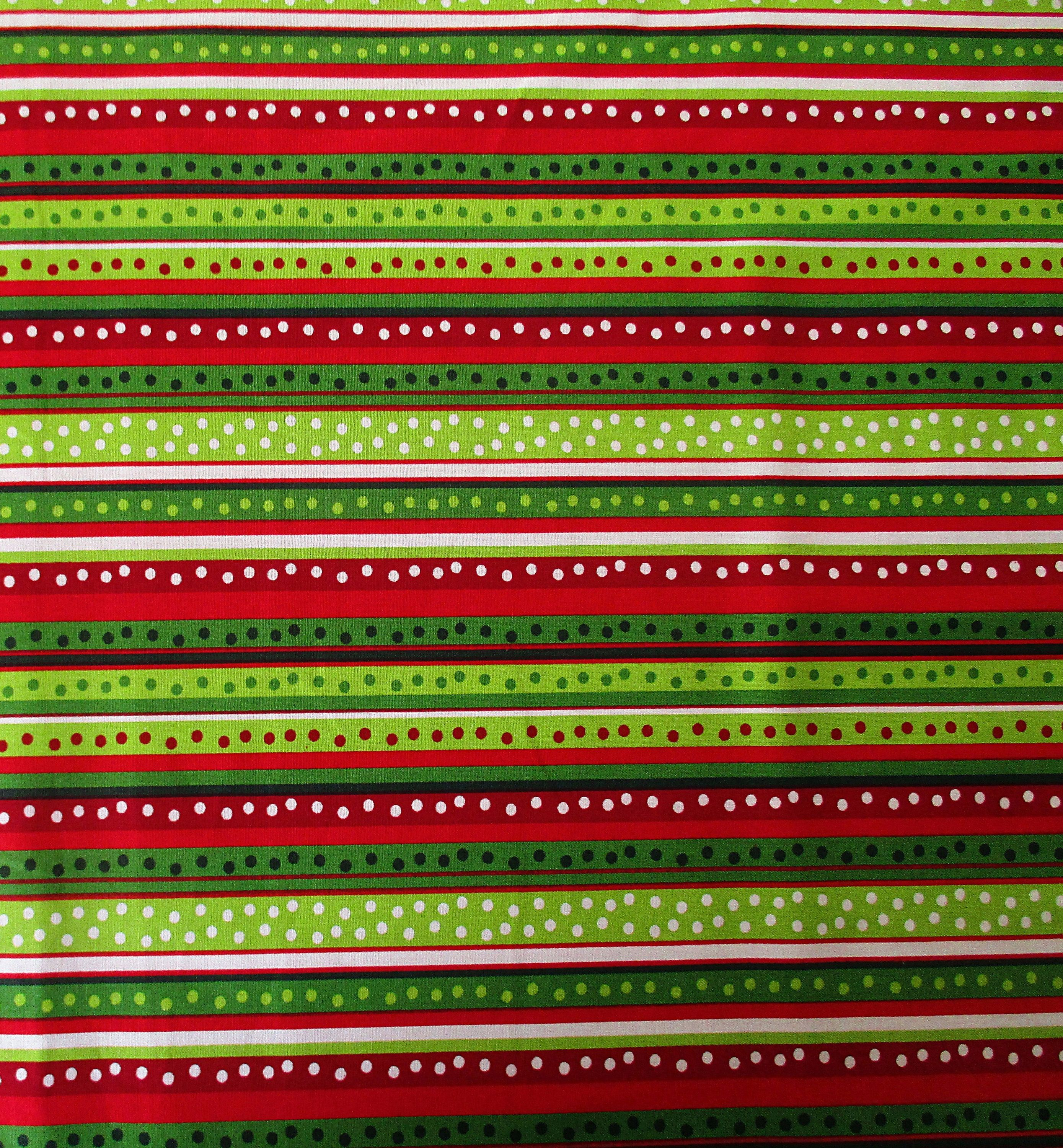 Kids Christmas Stripe Red Green White 100/% Cotton Sold by the Metre