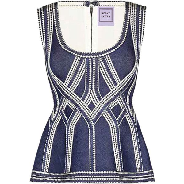 Herve Leger Becca Diamond Plaited Jacquard Top ($1,440) ❤ liked on Polyvore featuring tops, blue, herve leger top, woven top, hervé léger, blue top and diamond tops