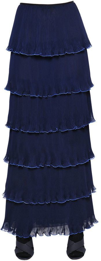 Mary Katrantzou Pantheon Tiered Plisse Georgette Skirt