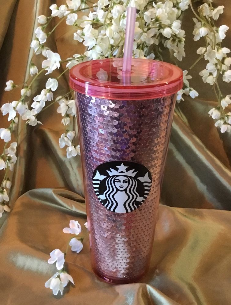 1df578a2f51 Starbucks Rose Gold Pink SEQUIN Iced Venti Cold Cup Tumbler 2017 Holiday  Edition #Starbucks