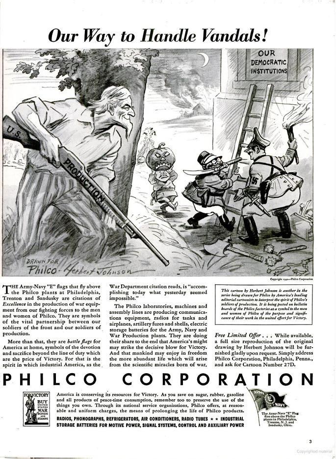 """One way to handle vandals!"" Nov. 2, 1942. Vintage ad."