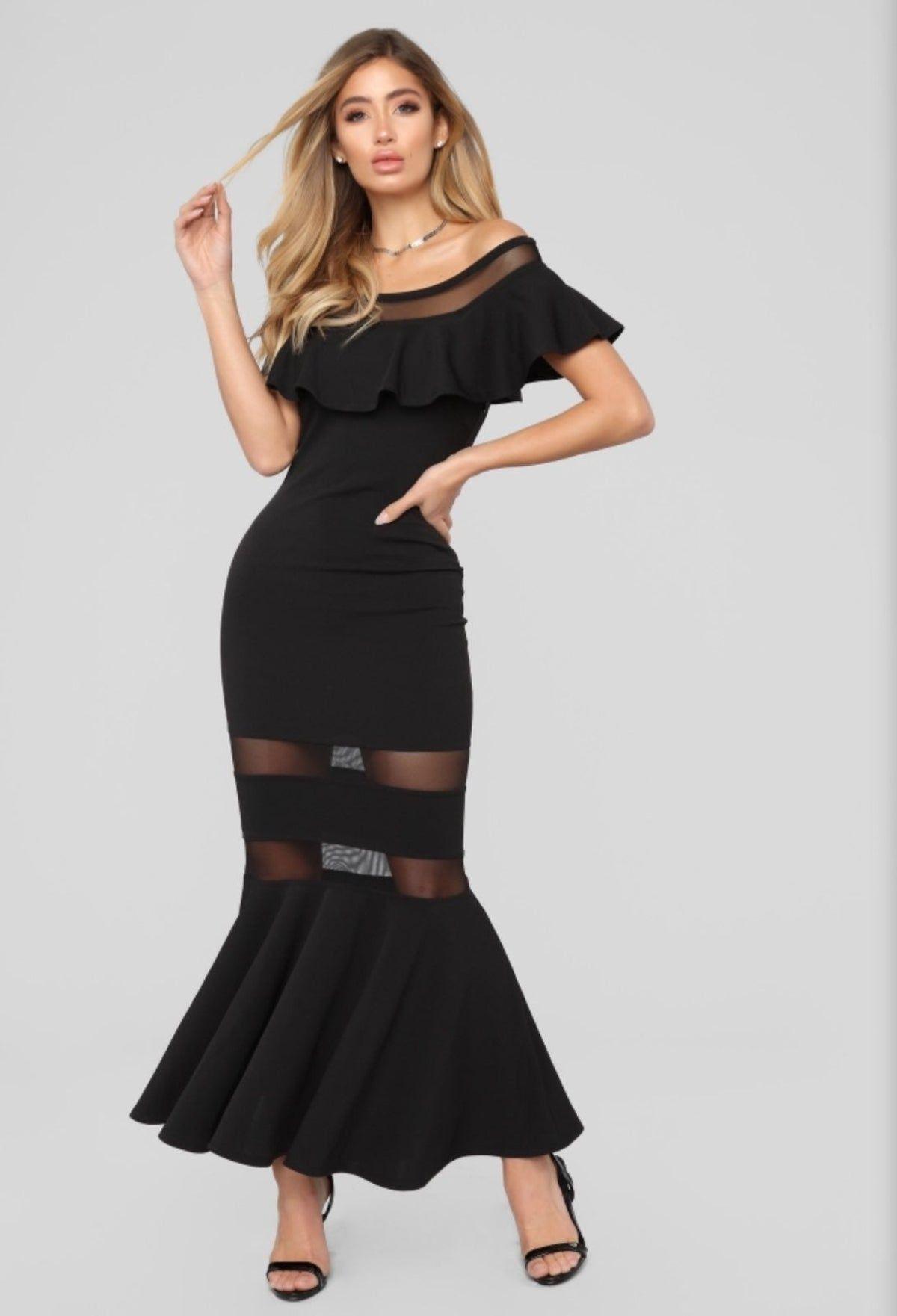 NEW Fashion Nova Roma Off Shoulder Dress Black off
