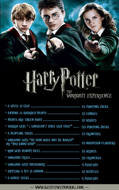 Harry Potter Workout Eh At Least This Way I Don T Need To Get Dressed Up For The Gym Harry Potter Workout Tv Workouts Workout Humor
