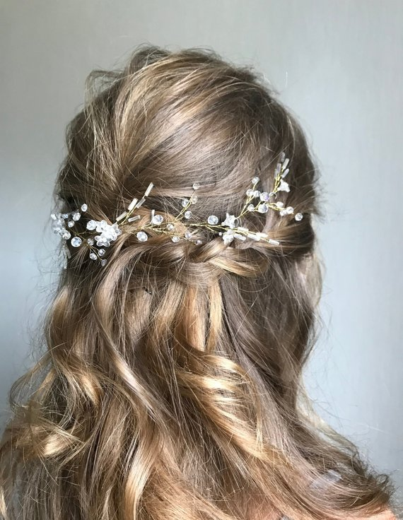 2 HAIR VINE GRIPS OR PINS SILVER//GOLD WIRE WITH YOUR COLOUR SWAROVSKI CRYSTAL