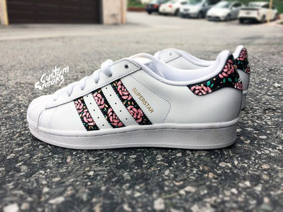 buy popular 72754 4a27e Womens Custom Adidas Superstars Floral design pink by CustomSneakz. Womens  Custom Adidas Superstars Floral design pink by CustomSneakz Sneakers ...