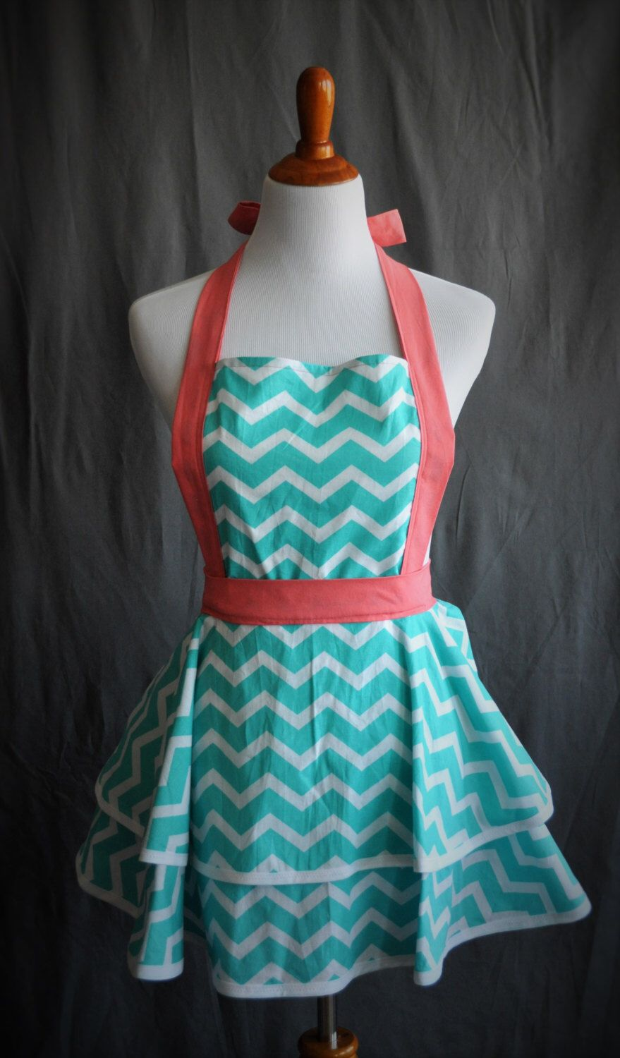Fun and flirty cute retro full kitchen apron in teal chevron with ...