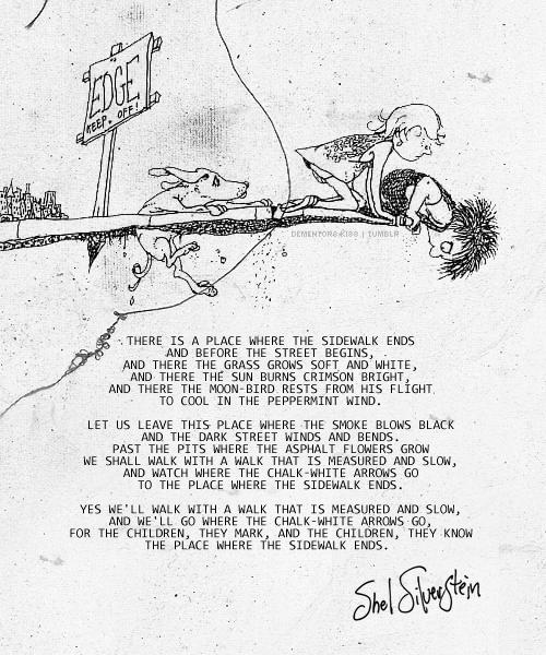 Completely random things i love pinterest sidewalk poem where the sidewalk ends my favorite poem of all time 3 fandeluxe Choice Image