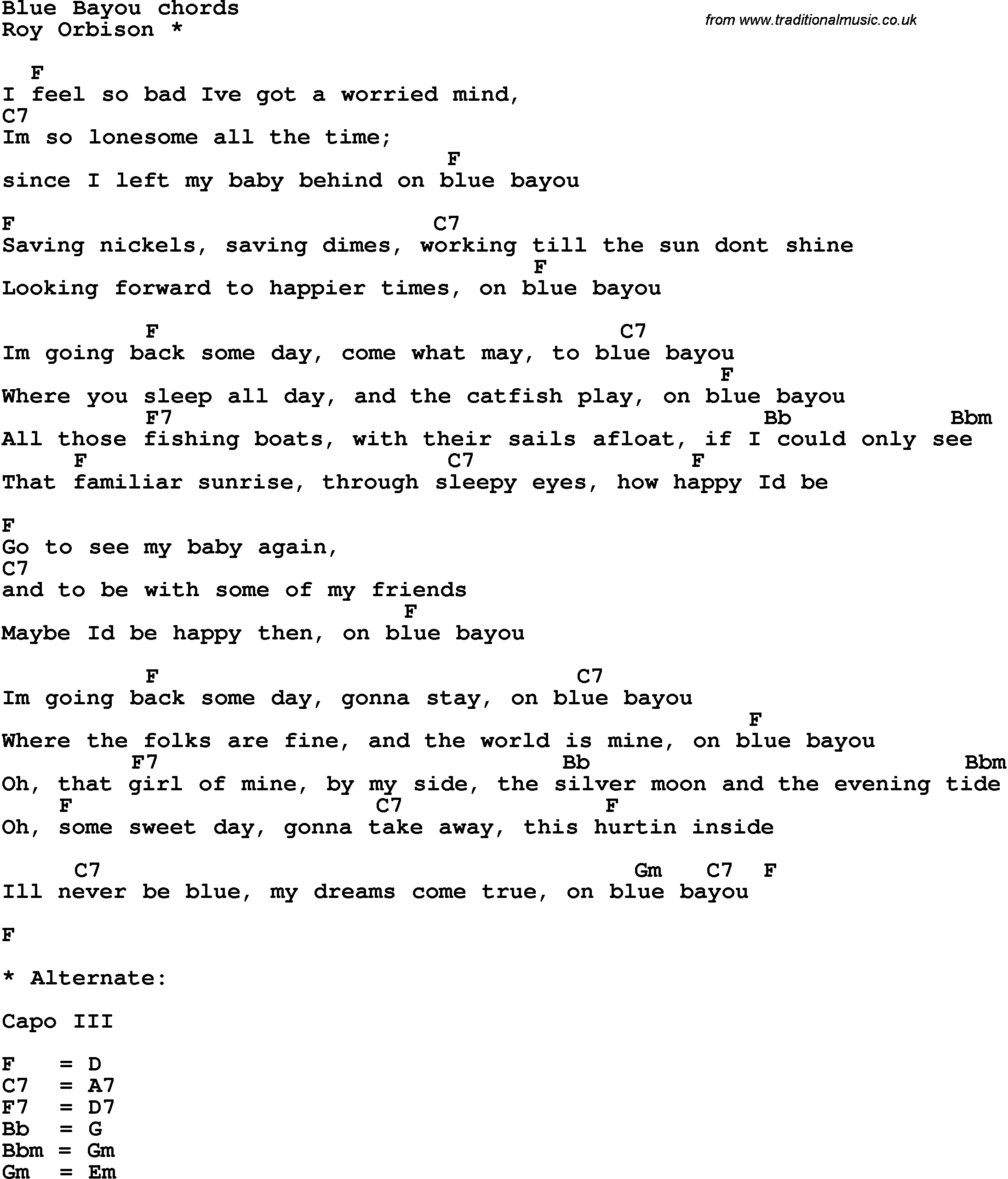 Song Lyrics With Guitar Chords For Blue Bayou Music In 2018