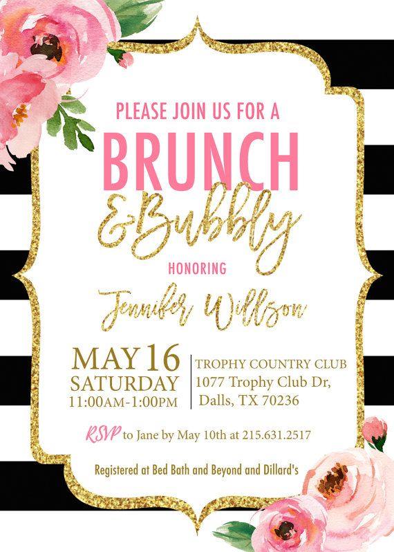 Kate Brunch And Bubbly Bridal Shower Invitation Printed Spade Invitations Black White Striped Fl