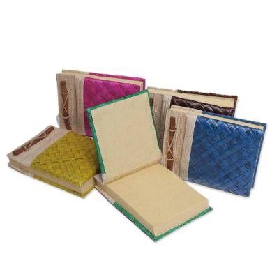 Natural fiber journals, 'Rainbow Weaver' (set of 5)