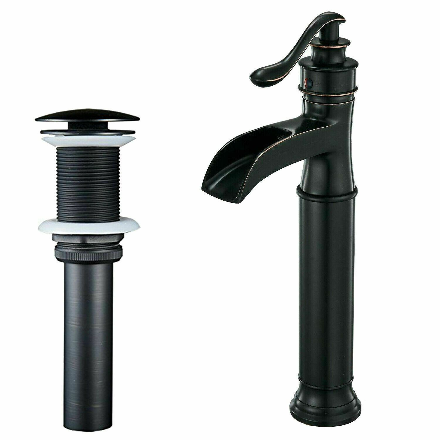 US Waterfall Deck Mount Black Oil Bathroom Basin Sink Mixer Vanity Faucet Taps