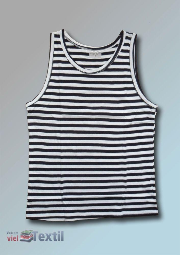 Unisex Muskel Shirt Trägershirt Muscle-Shirt Marine-Style schwarz-weiß gestreift