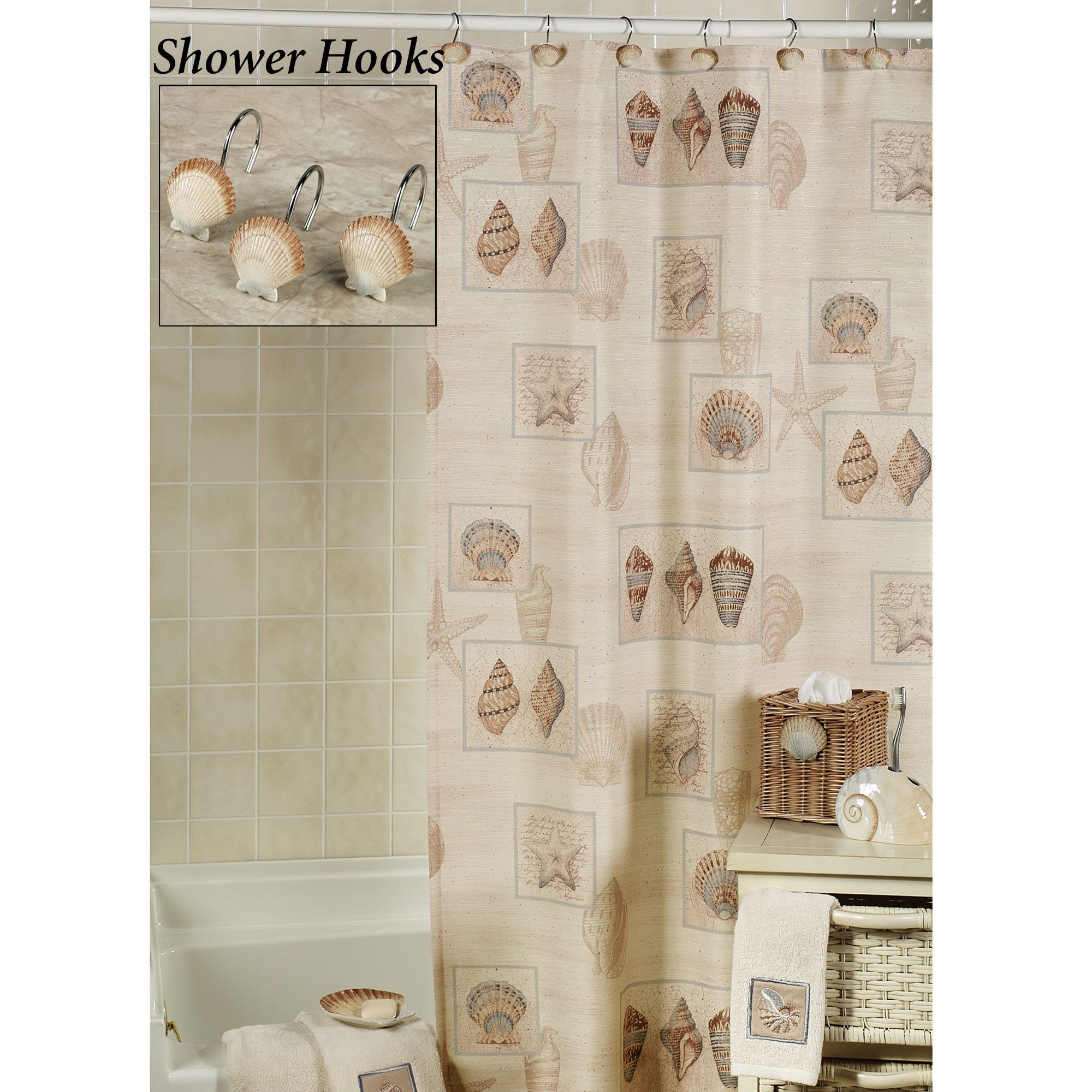 Seashell bathroom ideas - Bathroom Designs Beach Shower Curtain The Sarasota Seashell Shower Curtain Will Bring The Beach Right Into