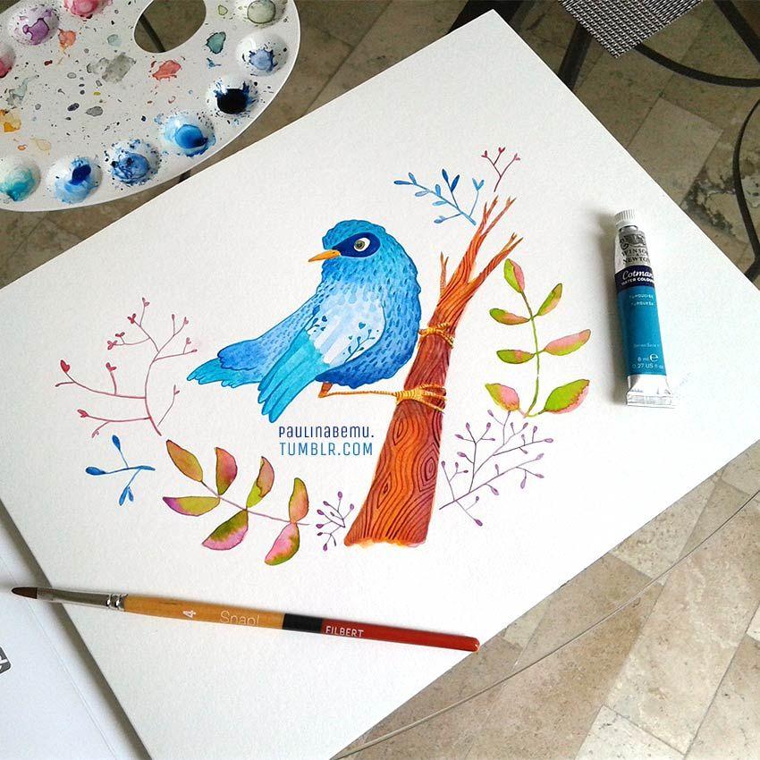 "Art Credit: Paulina Beltrán @paulinabemu ""Blue bird""  #watercolor #bird"