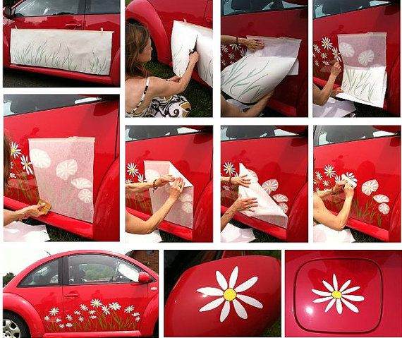 Daisy Flower Decal Sticker Graphics For VW BeetleTotal By Tonyabug - Vinyl decals car wash