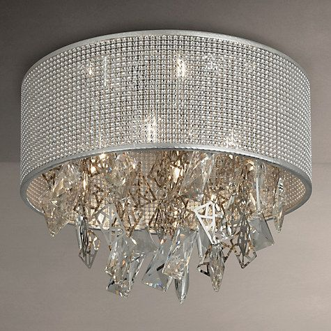 Buy john lewis tiffany semi flush ceiling light silver online at johnlewis com