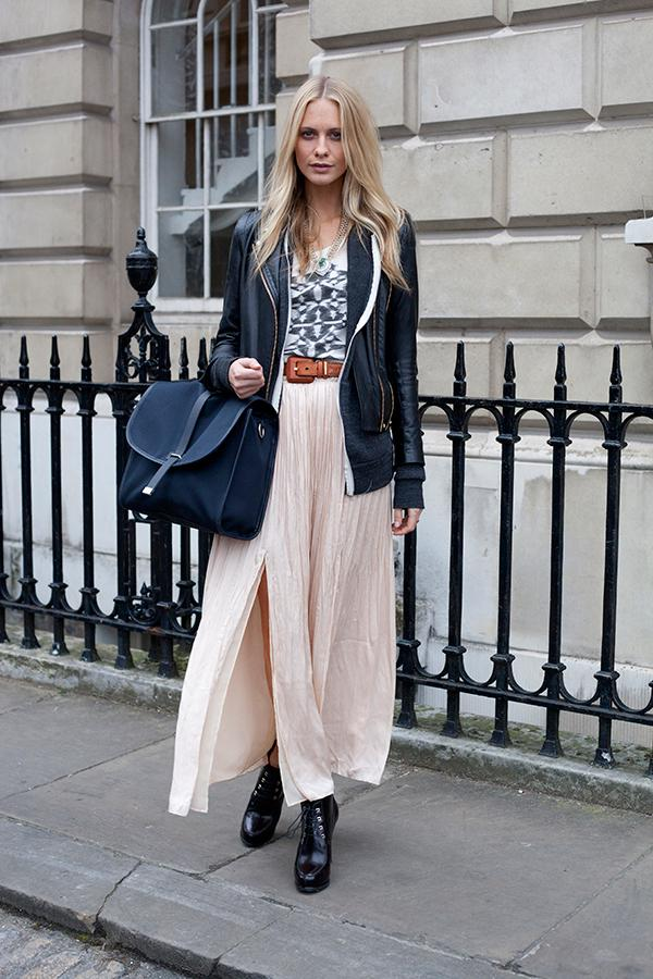 Laidback luxe - Poppy D does this best with a loose, pleated maxi and biker jacket//