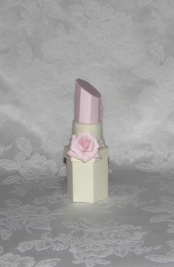 Light Pink With Paper Rose Lipstick Gift Box Favor Box